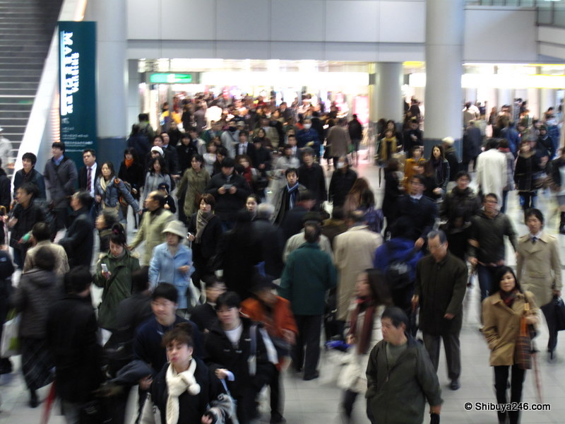 Normal flow through Shibuya station towards Inokashira Line