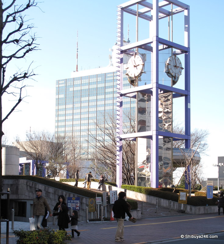 Clock in front of Shibuya kuyakusho