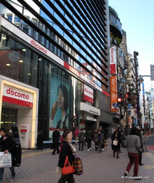 Docomo building at bottom of Koen-dori with Horikita Maki on her docomo phone.